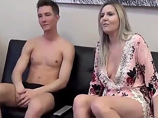 Shameless stepmom gets her pussy filled up with cum by her shy stepson