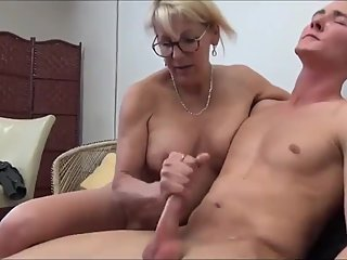 Slutty mature stepmom seduces her 18yo virgin stepson