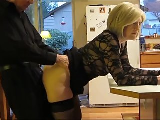 Taboo! Stepson with big dick fucks his mature stepmom in the ass in kitchen