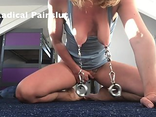 Extreme Nipple Torture With Weights for Submissive Painslut BDSM