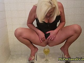 Her Shaved Pussy Gets to Pee Everywhere