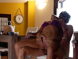 Hot italian MILF gets fucked hard in the kitchen by her partner