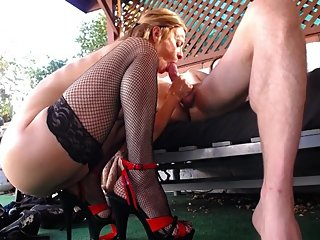 Squatting Blow Job in High Heels and Stockings