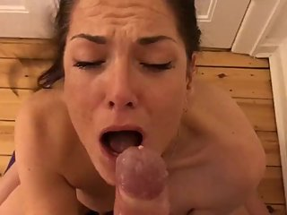 POV Hot Amateur MILF Rough Sloppy Deepthroat Blowjob W Cum in Mouth