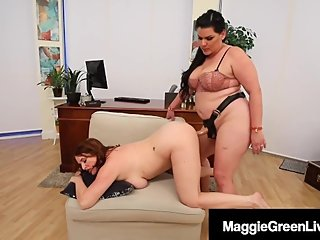 StrapOn Step Sisters, Maggie Green & Angelina Castro Cum Fucking!