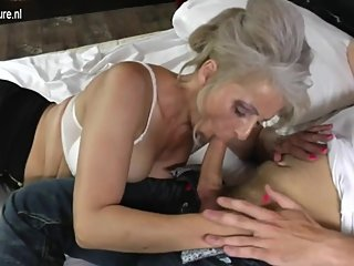 GER: Hairy grandma hard fucked by young lover