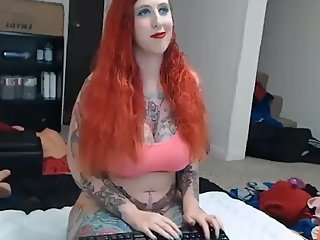Tatted Goth PAWG With 32H Tits Cream Orgasms on Mechanical Dildo