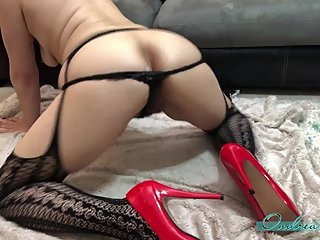 Asian Squirt Milf Kitty Ears Red Pump Heels