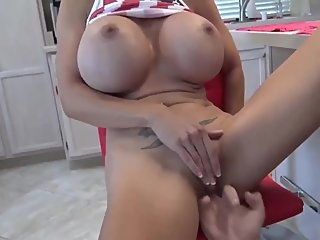 Naughty stepmom having a real orgasm with her stepson