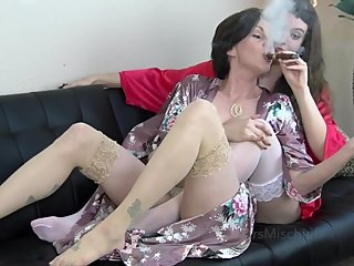 Teaching Her to Smoke - Mrs Mischief girl girl smoking cigarette & cigar