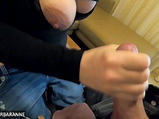 I jerk off a stranger in a german hotel room and he cums all over the place