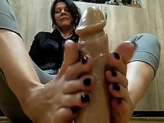Footjob with dildo oiled - Olga Novem