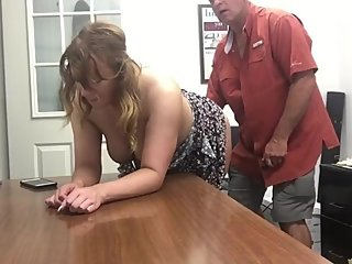 Boss having fun with his new busty mature secretary