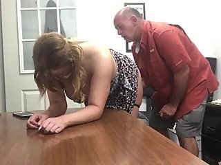Horny and busty wife having fun with her boss after interview