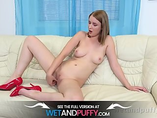Luscious Blonde Fills Pussy With Sex Toys