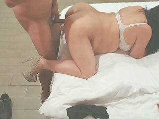 Hot latina wearing sexy heels couldn't hold her lover's hard cock in the as