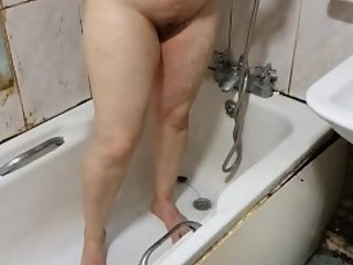 Step son catches step mom in the shower masturbate