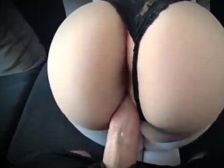 Step son fucks step mom ass and finished on her tights black panties