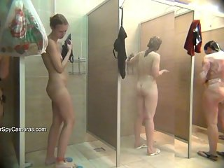 Public showers full of naked women