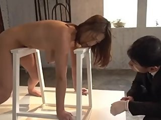 Japanese milf acts  like art installation to save family