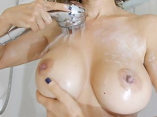 iranian muslim milf, yasmin shia doing a huge tit masturbation in shower