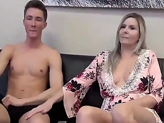 Taboo! Stepson with very big dick cums inside his mature stepmom