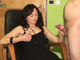 femdom handjob with 2 cumshots on clothes
