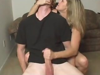 Horny american mature MILF jerking off her roommate's very big dick