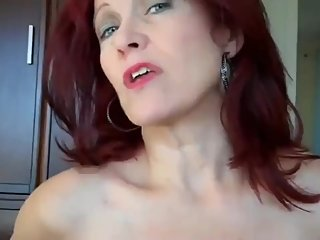 Taboo! Mature redhead stepmom teaches her stepson how to fuck her cunt