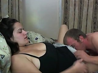 Hairy and sexy wife gets her pussy filled up with cum by her neighbor