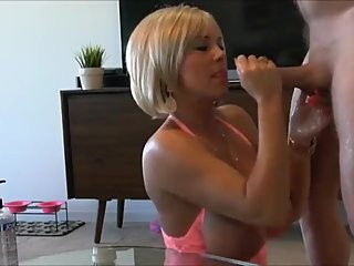 Naughty american stepmom made her lucky stepson cum three times