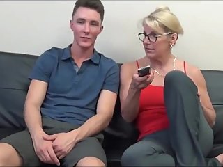 Taboo! Mature stepmom with big tits teaches her young son how to fuck