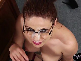 European milf beauty facialized in office