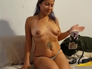 Husband records slut wife hard orgasm on live cam with another guy