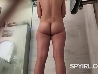 Hot Milf with Hairy Pussy-Shower Spy Cam