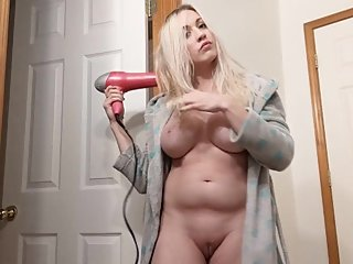Voyeur Big Tit Blonde Hair Drying Naked Hair Brushing