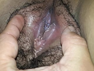 SHOWING MY CREAMY AND HAIRY WET PUSSY