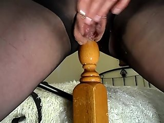 Amateur MILF Fucks Bedpost and Squirts