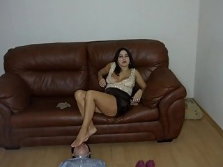 Poke your whole leg in your mouth! Russian femdom. The man in chastity belt