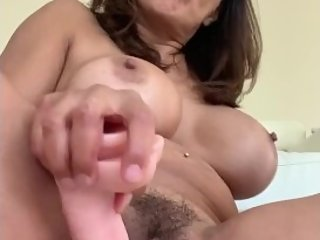 Hairy Stepmom in glasses fucks dildo after creampie