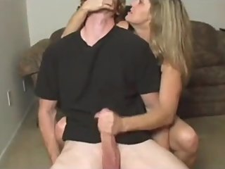 Mature stepmom jerking off her stepson's very big dick
