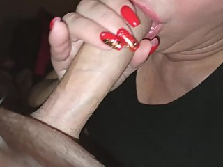Close up long nails blowjob