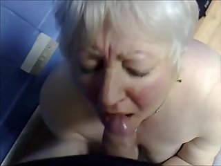 White hair grandma take cum in mouth
