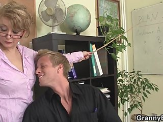 Mature boss in white stockings enjoys riding his big dick
