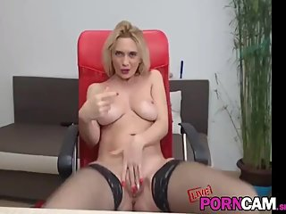 Big tits horny MILF masturbate in front of the camera
