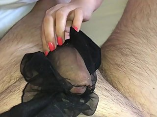 sexy stocking on husbands cock
