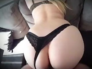 Step mom fucked through black thong by step son cock