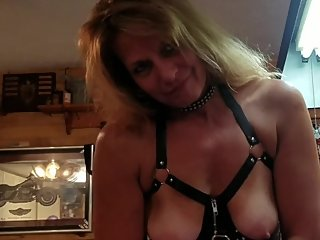 Leather Clad Girl Fucking Dildo Cumming Hard, Lots of Cum!