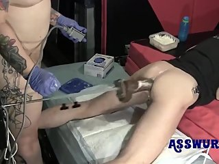 Tattooed Milf Puts Him On The Fucking Machine With BBC Dildo (short)
