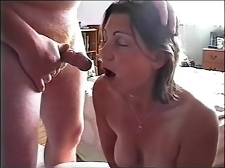 Wife loves spunk on her face so much it makes her cum